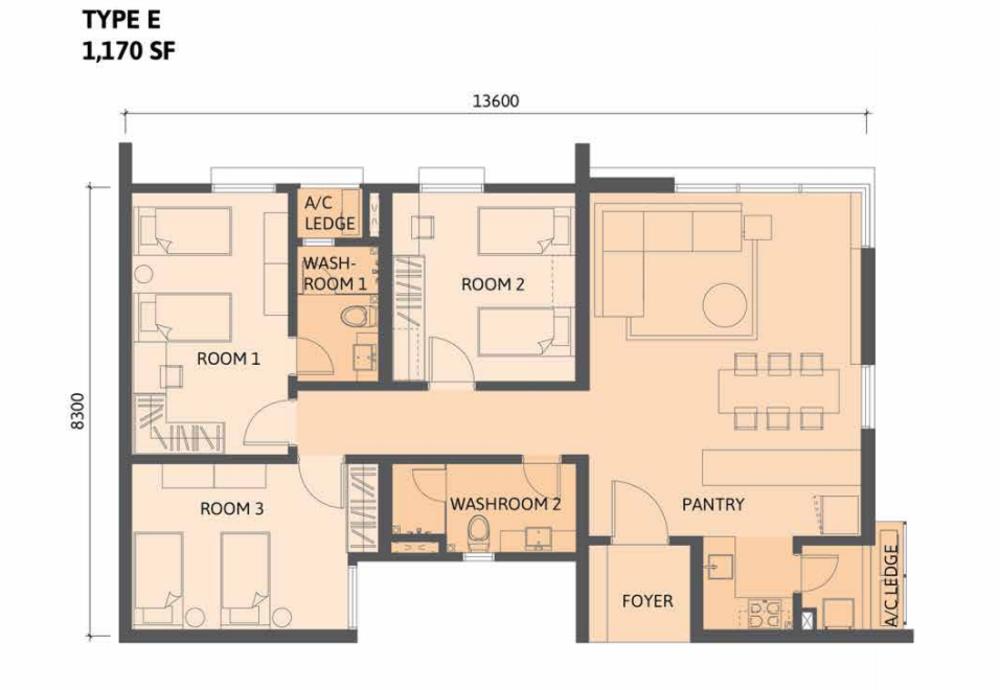 Union Suites Type E Floor Plan