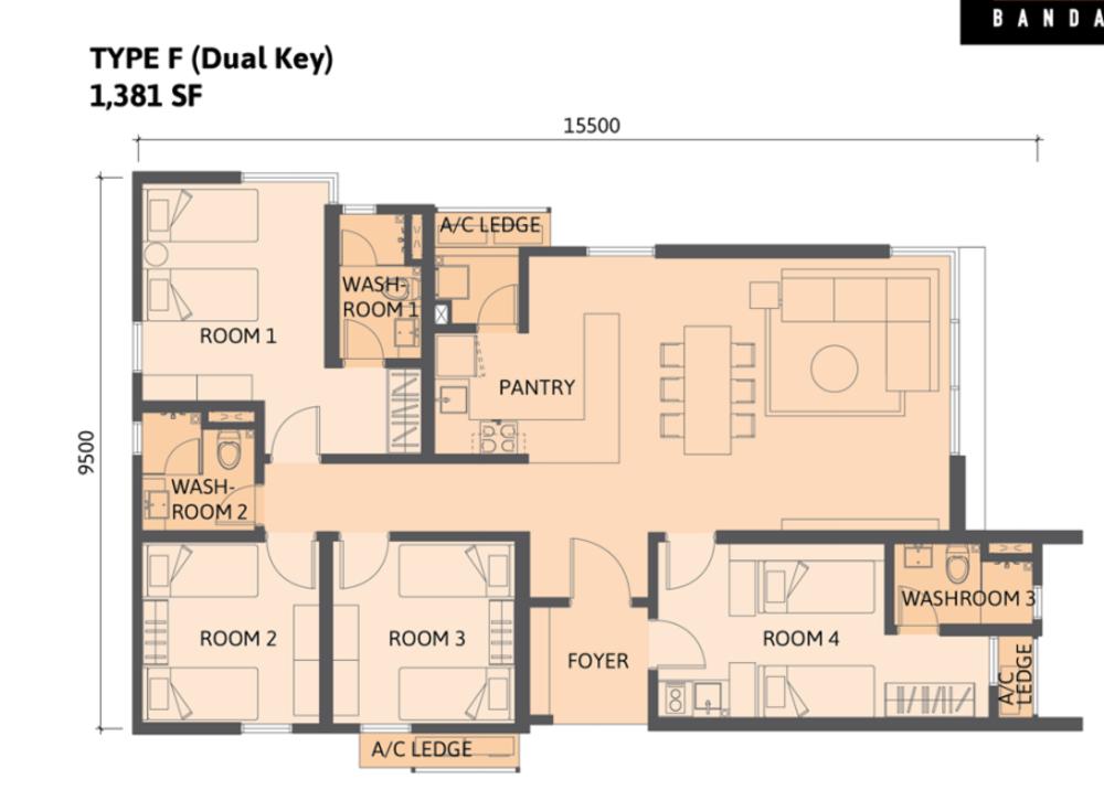 Union Suites Type F Floor Plan