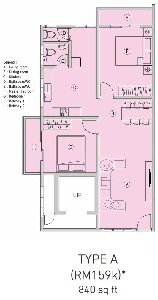 Pangsapuri Samudera 1 Type A Floor Plan
