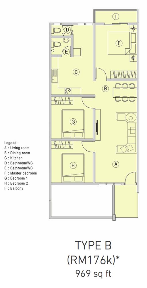 Pangsapuri Samudera 1 Type B Floor Plan