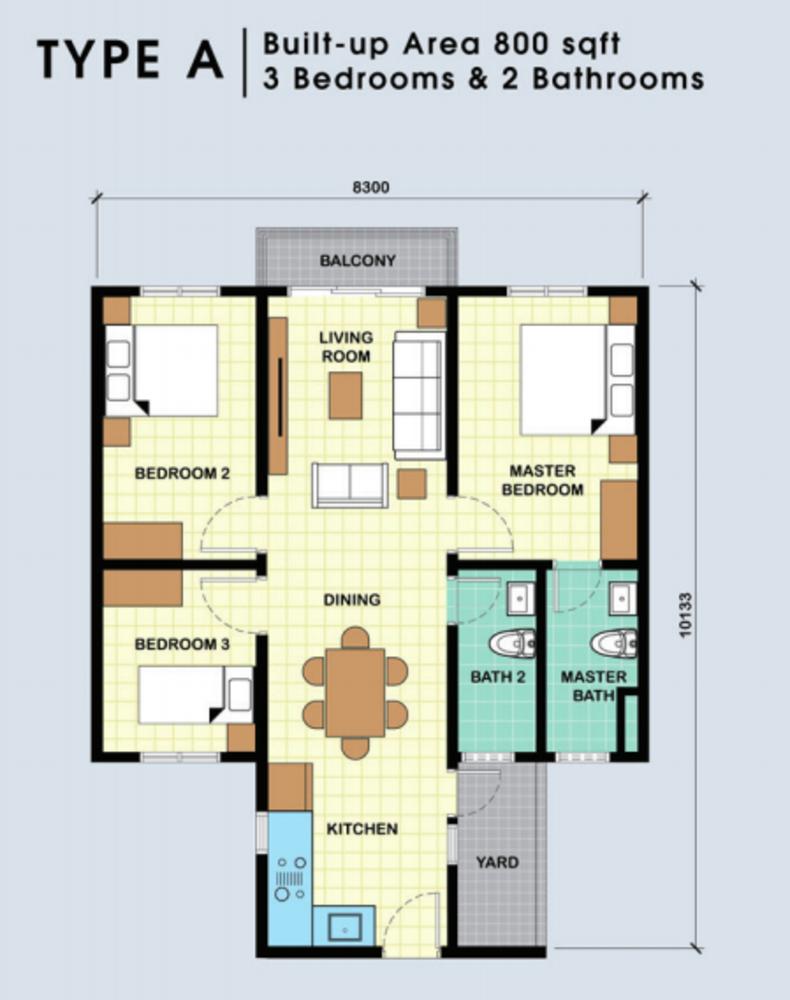 Residensi Jalilmas Type A Floor Plan