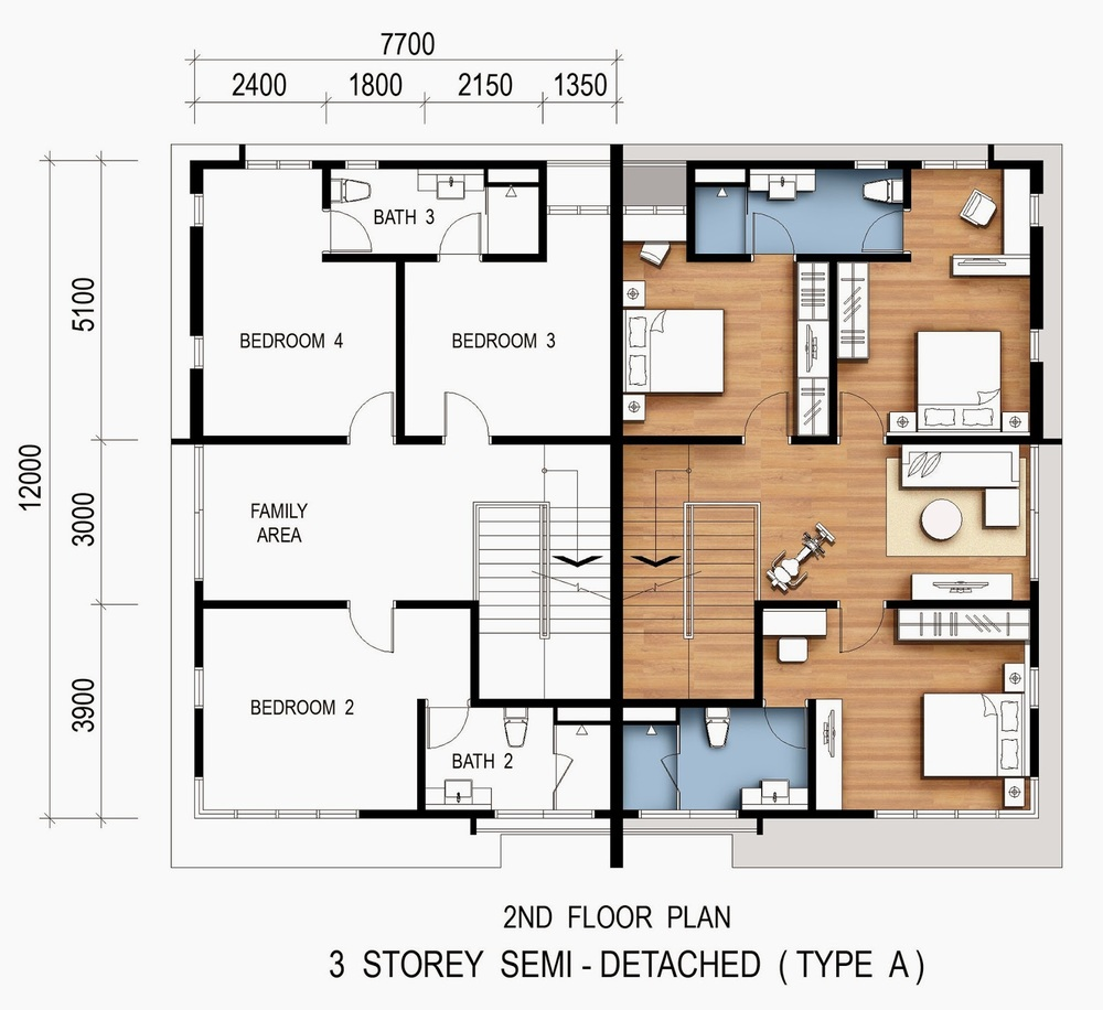 Pearl Residences Type A (Second Floor) Floor Plan