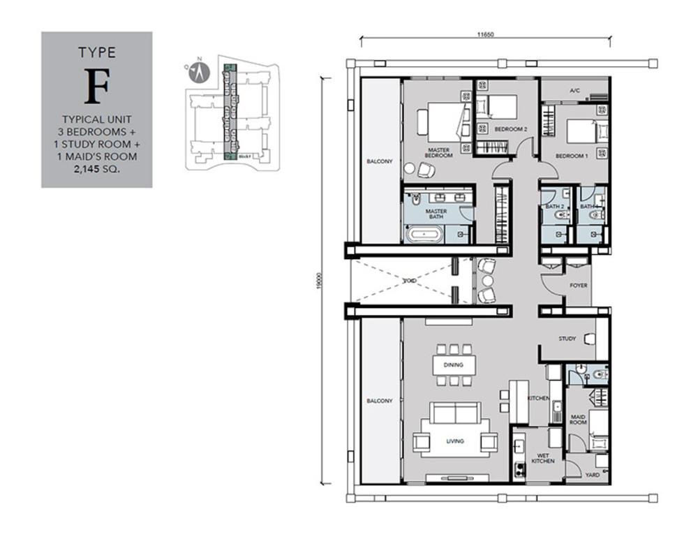Cantara Residences Type F Floor Plan