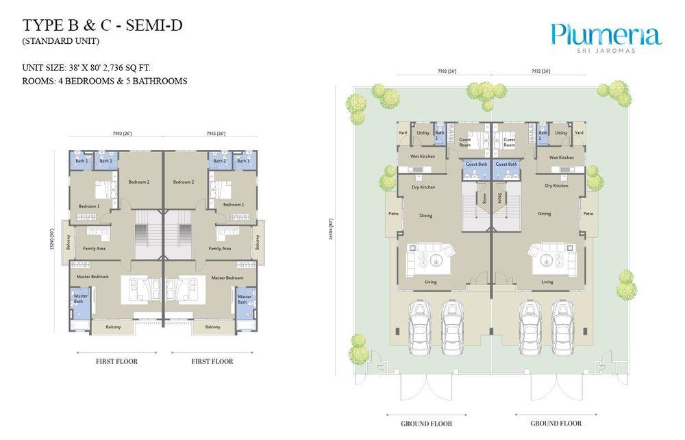 Plumeria @ Sri Jaromas Type B and C (Semi D) Floor Plan