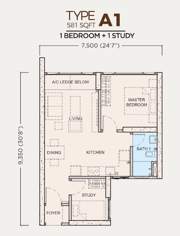 Greenfield Residence Tower B - Type A1 Floor Plan