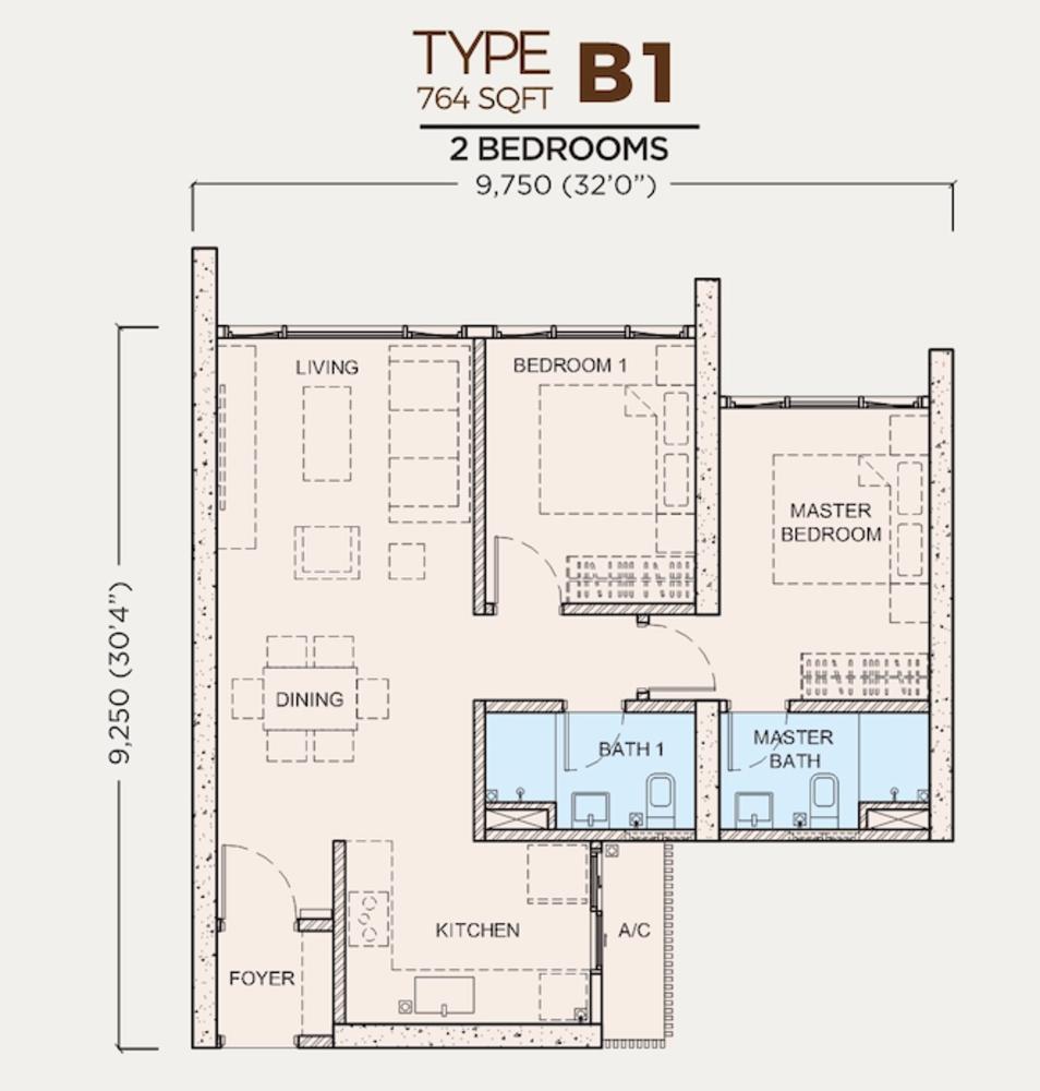 Greenfield Residence Tower B - Type B1 Floor Plan