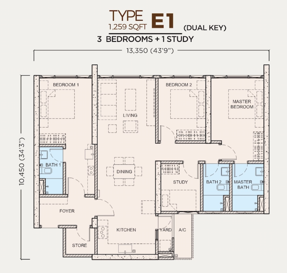 Greenfield Residence Tower B - Type E1 (Dual-Key) Floor Plan