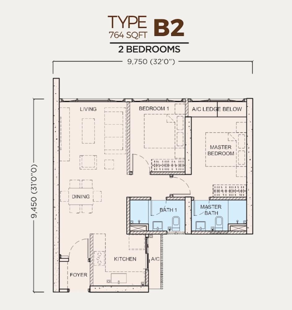 Greenfield Residence Tower C - Type B2 Floor Plan