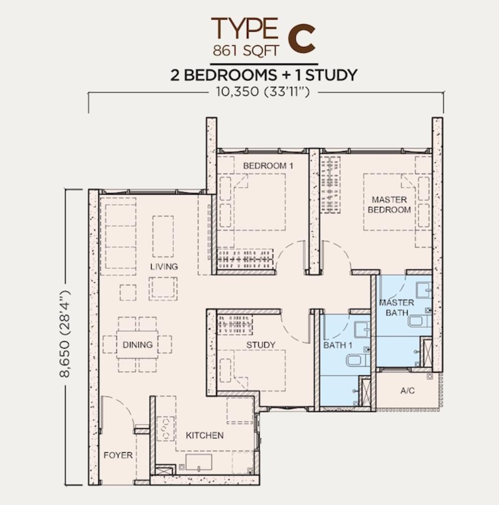 Greenfield Residence Tower C - Type C Floor Plan