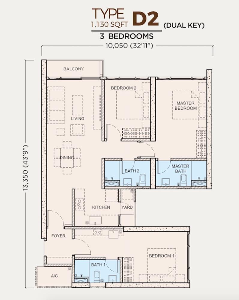 Greenfield Residence Tower C - Type D2 (Dual-Key) Floor Plan