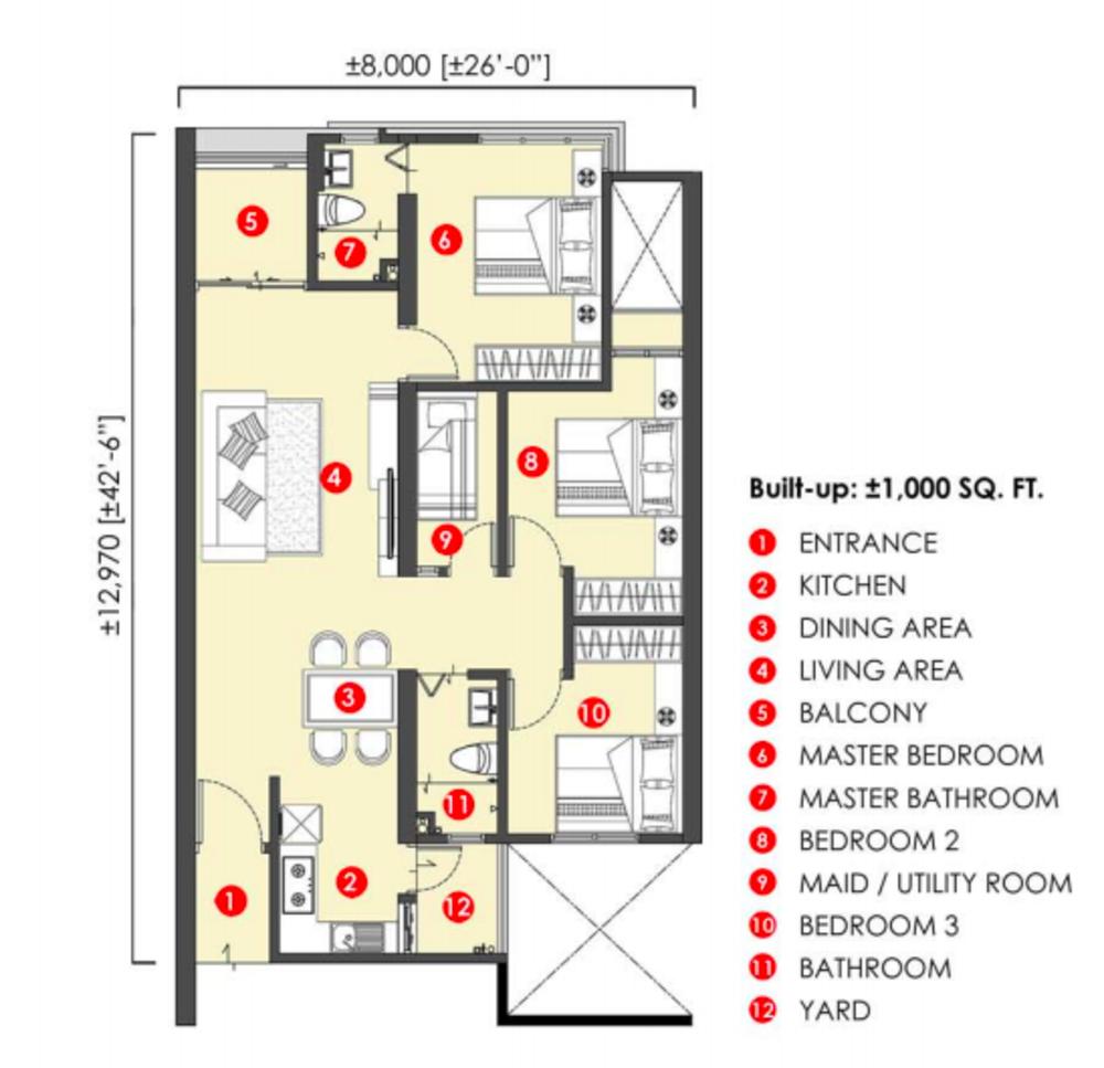 The Stone Standard Unit Floor Plan