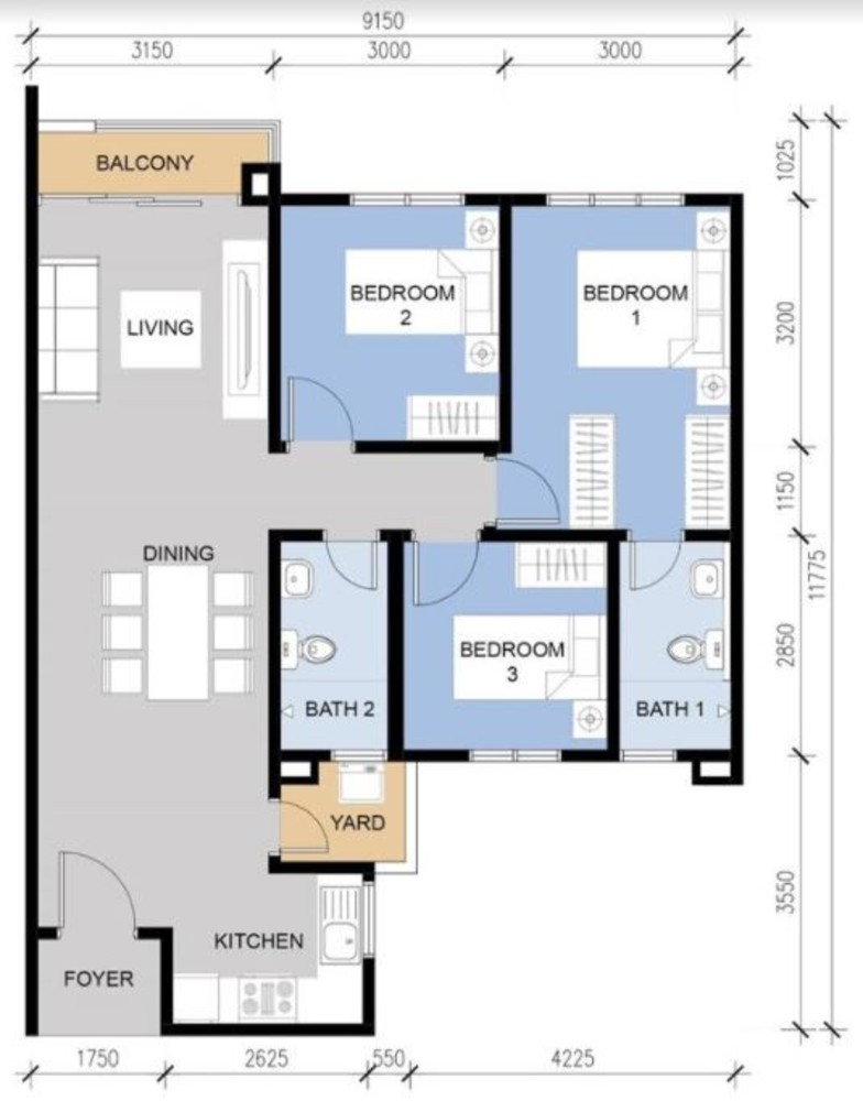 Vista Langkawi @ PV18 Type A Floor Plan