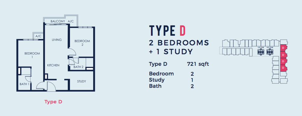 South Link Lifestyle Apartments Type D Floor Plan