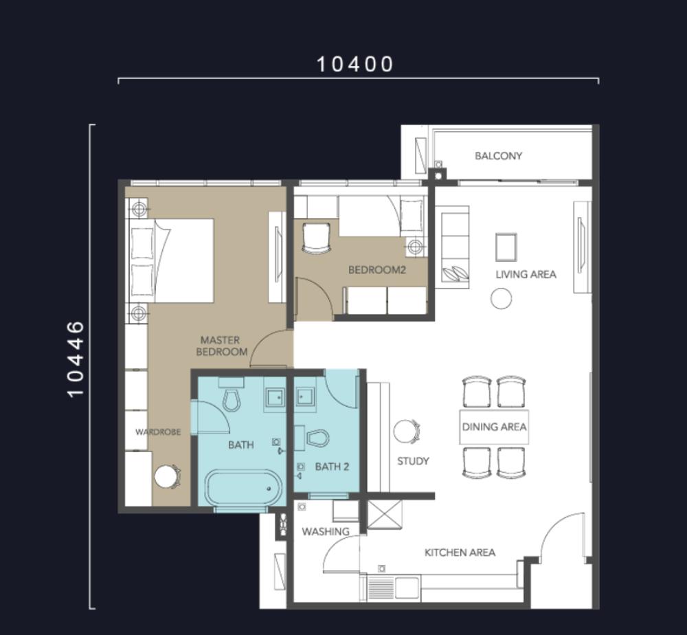 Molek Regency Type B & B1 Floor Plan