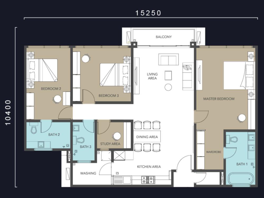 Molek Regency Type C & C1 Floor Plan