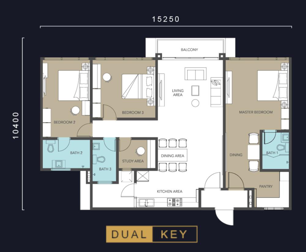 Molek Regency Type C2 (Dual Key) Floor Plan