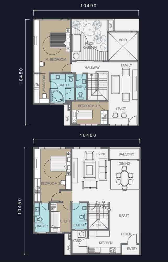 Molek Regency Type E & E1 Floor Plan
