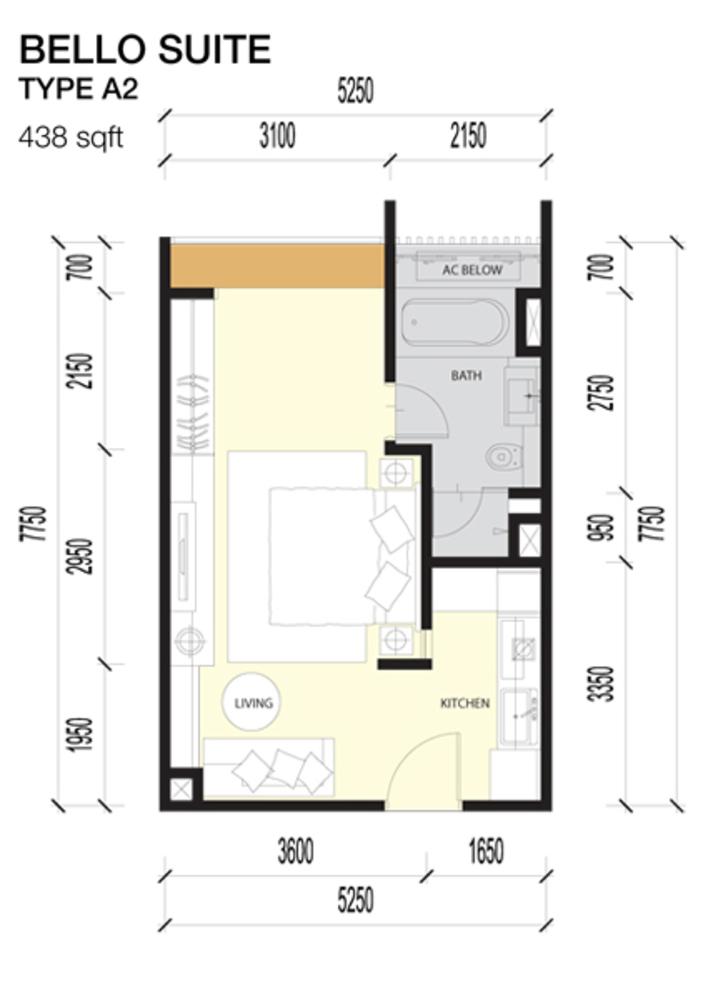 Imperio Residences Bello Suites A2 Floor Plan