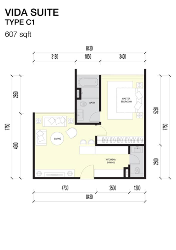 Imperio Residences Vida Suites C1 Floor Plan