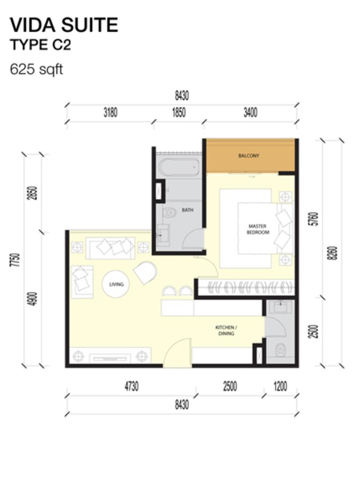 Imperio Residences Vida Suites C2 Floor Plan