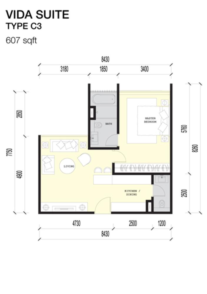 Imperio Residences Vida Suites C3 Floor Plan