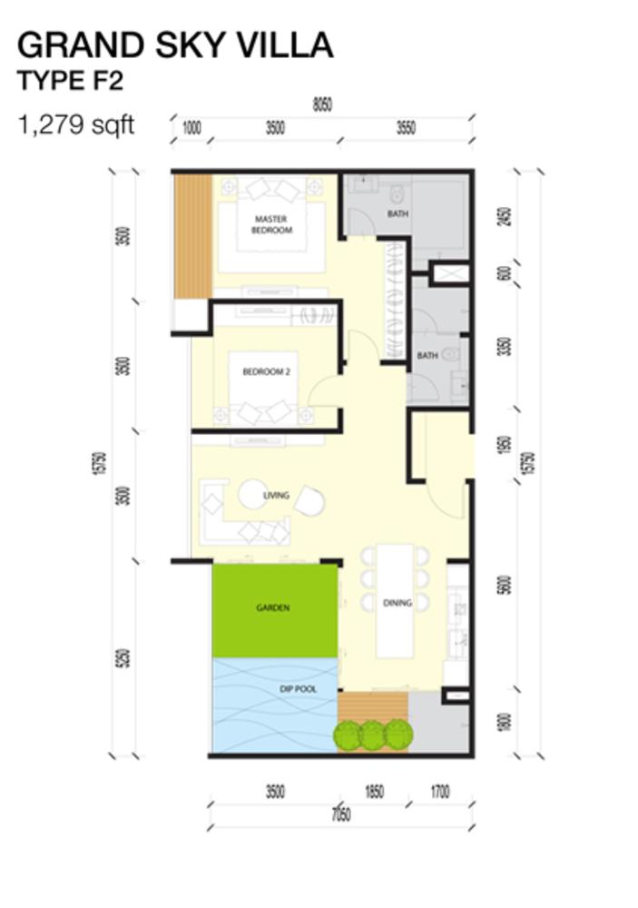 Imperio Residences Grand Sky Villa F2 Floor Plan