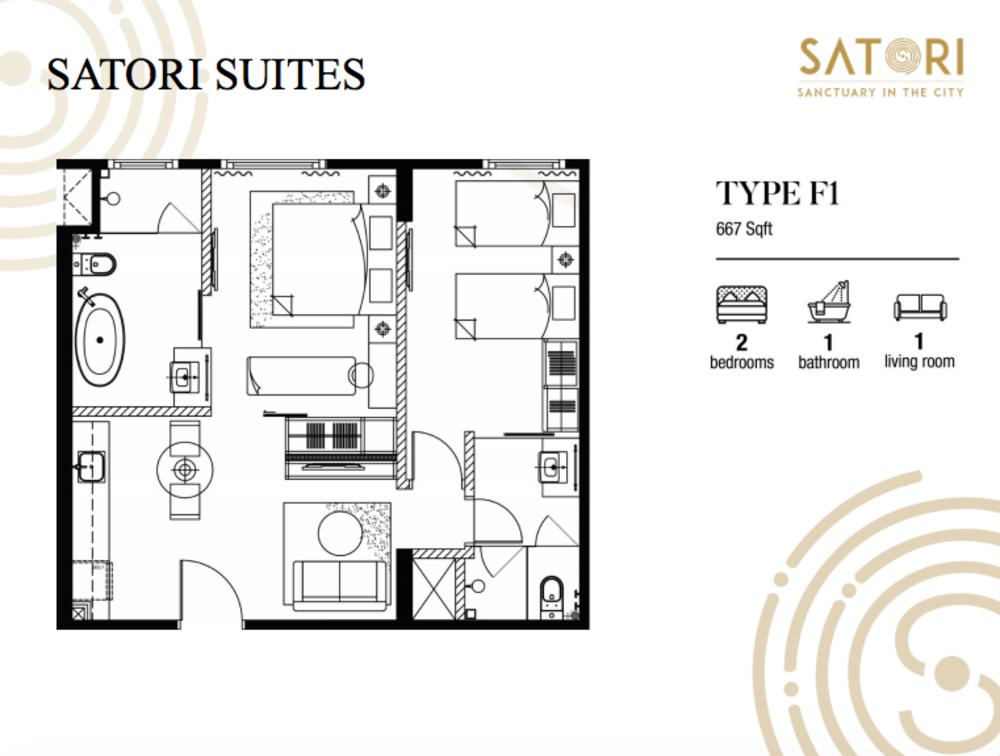 Satori Satori Suites Type F1 Floor Plan