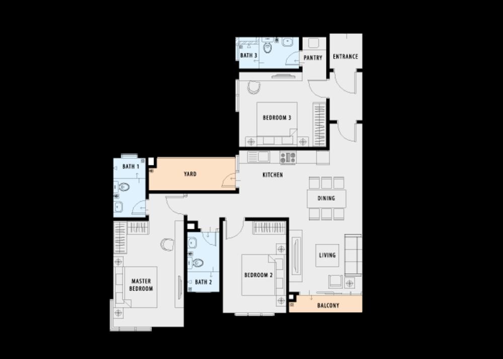PV18 Residence Type C (Dual Key) Floor Plan