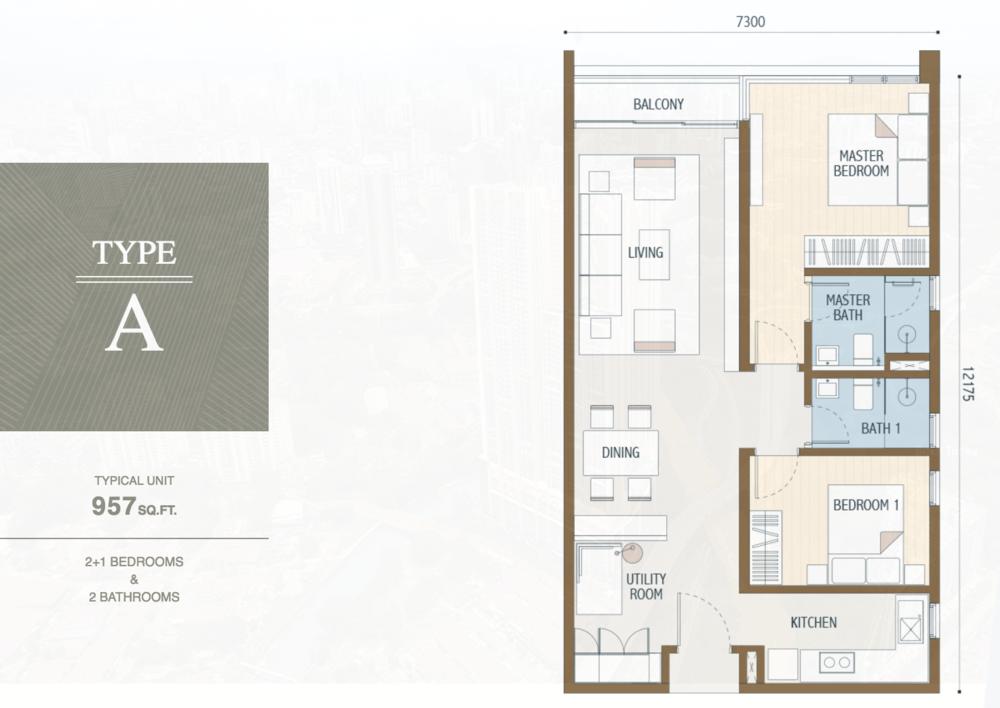 Duta Park Residences Type A Floor Plan