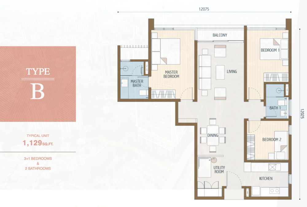 Duta Park Residences Type B Floor Plan