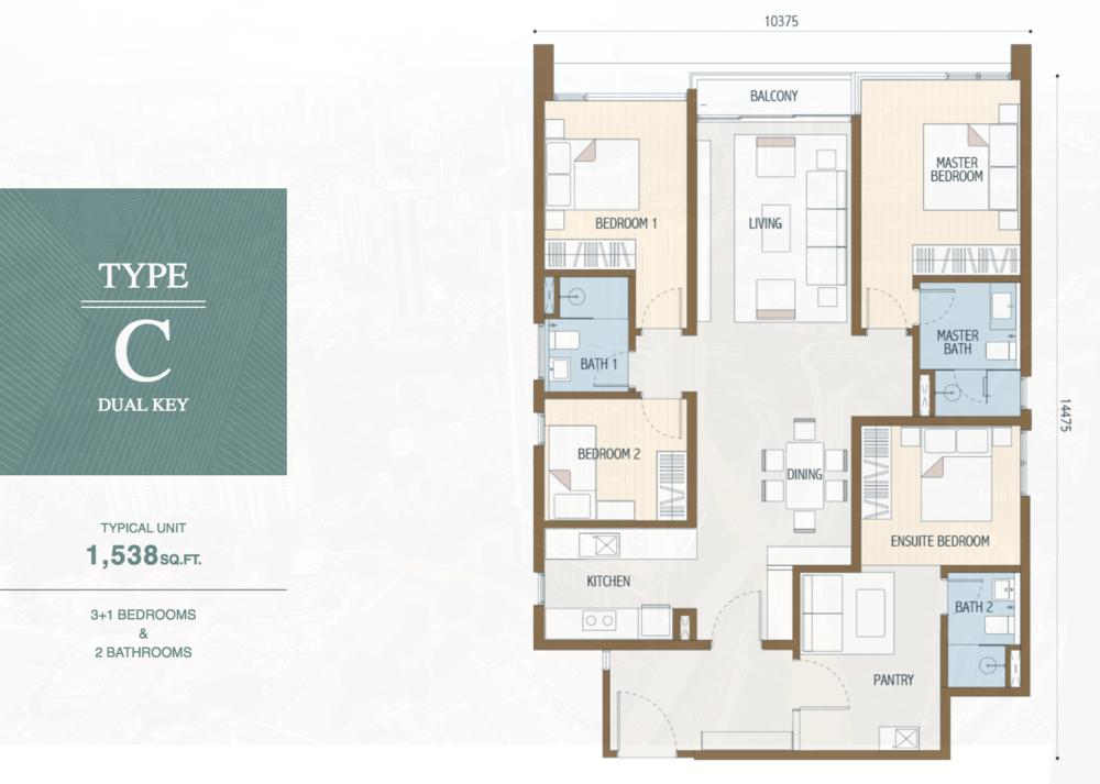 Duta Park Residences Type C (Dual Key) Floor Plan