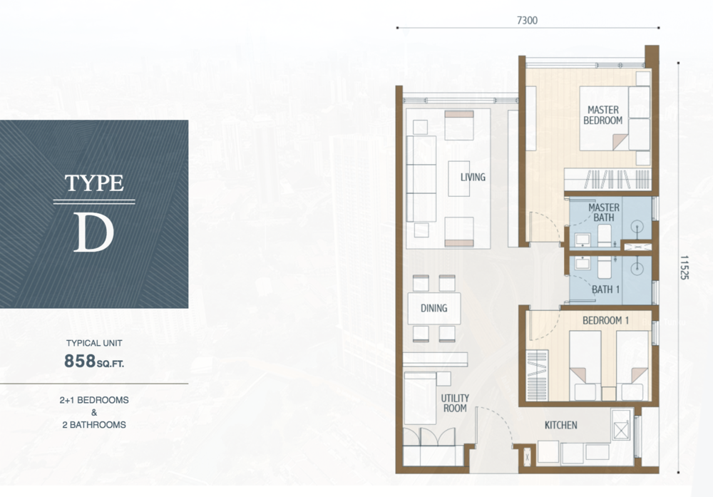 Duta Park Residences Type D Floor Plan