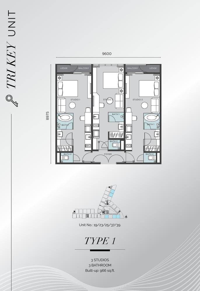 D'Immersione Type 1 (with 3 studios) Floor Plan