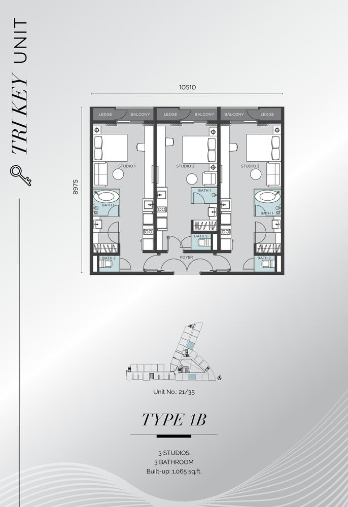 D'Immersione Type 1B (with 3 studios) Floor Plan
