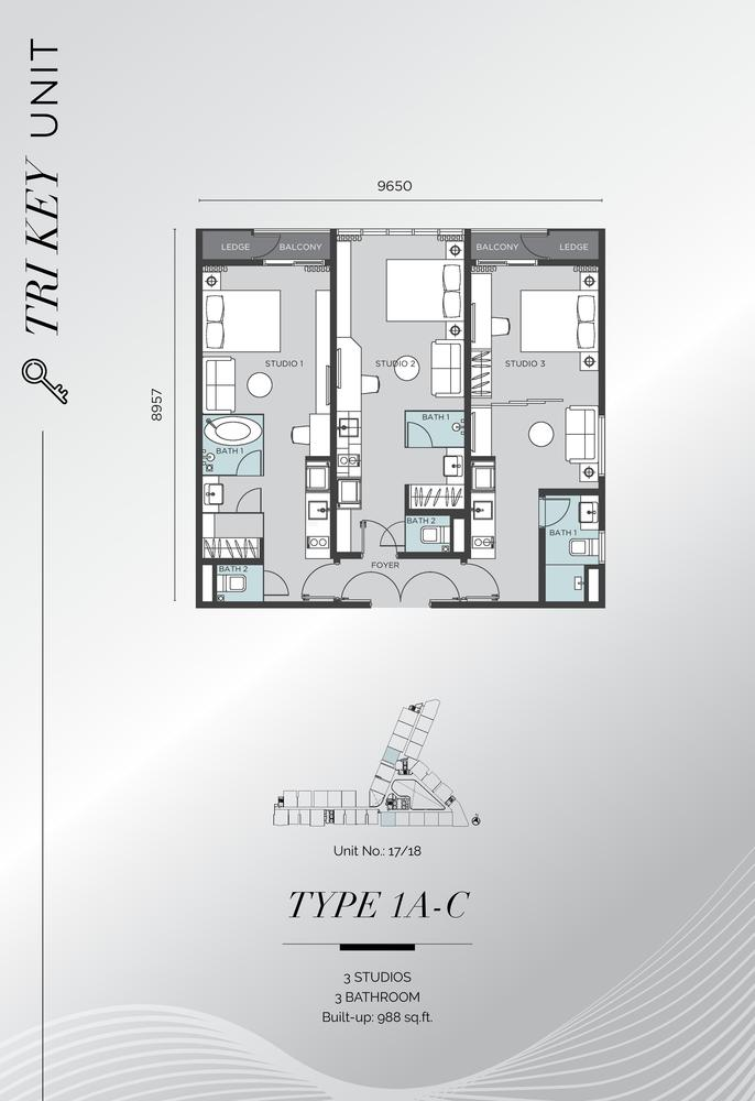 D'Immersione Type 1A-C (with 3 studios) Floor Plan