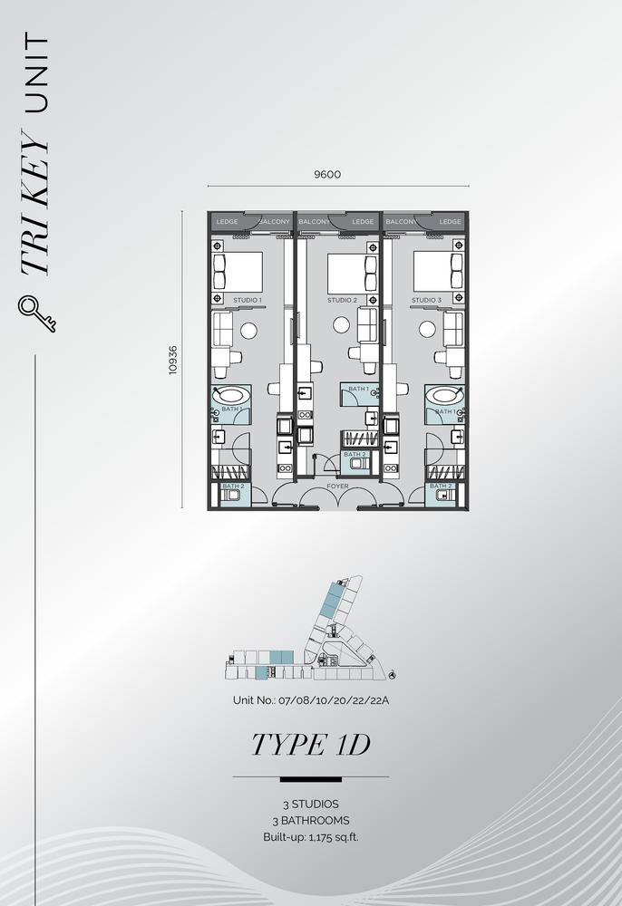 D'Immersione Type 1D (with 3 studios) Floor Plan