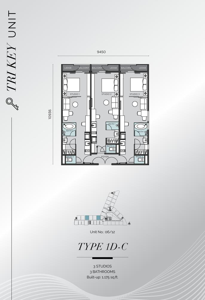 D'Immersione Type 1D-C (with 3 studios) Floor Plan