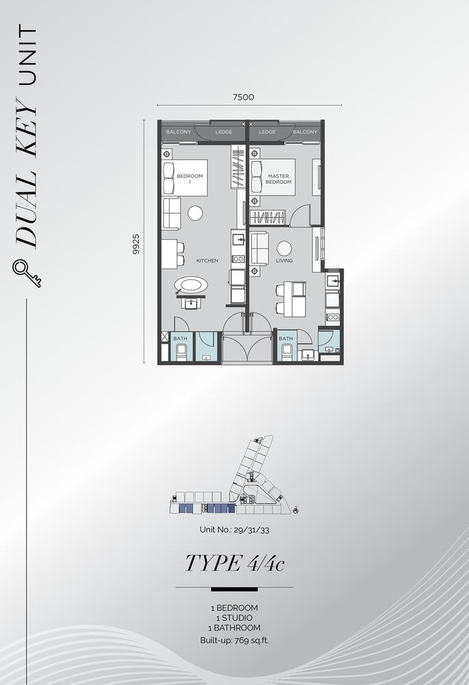 D'Immersione Type 4/4C (with 1 studio) Floor Plan