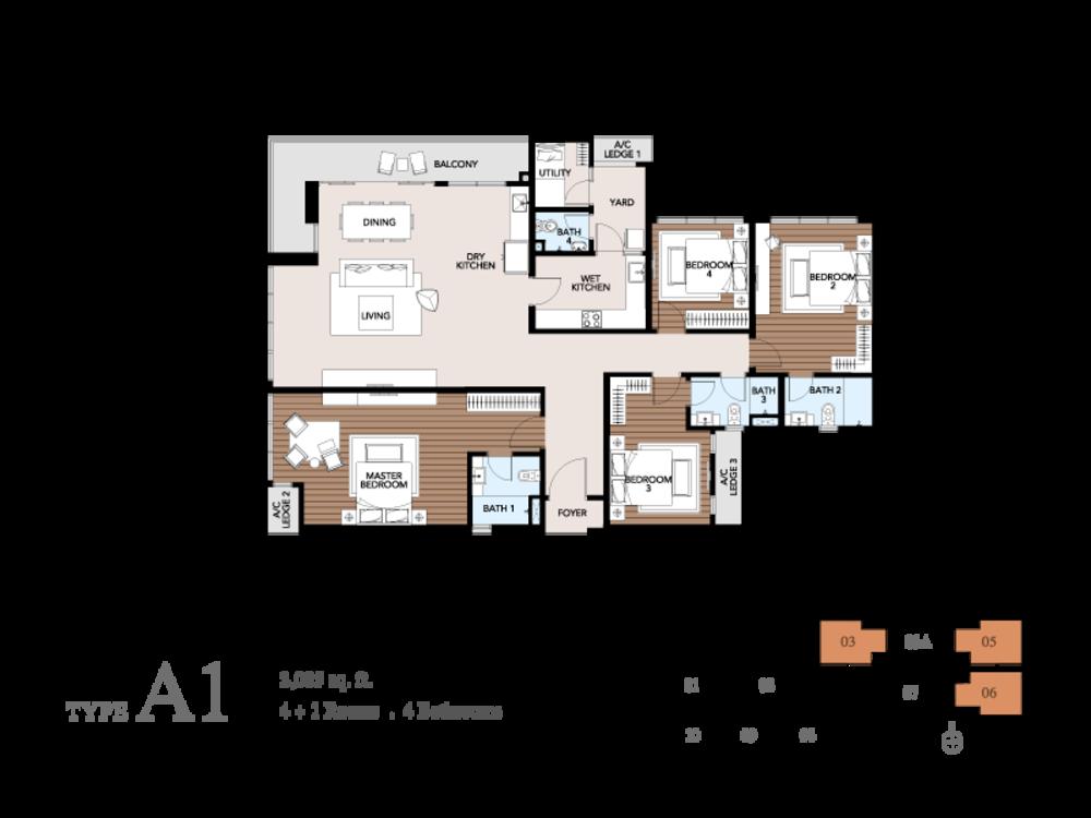 Trinity Pentamont Type A1 Floor Plan