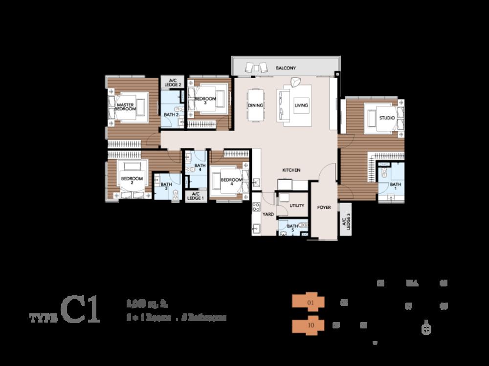 Trinity Pentamont Type C1 Floor Plan