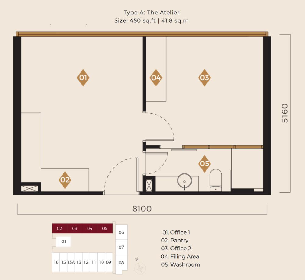 Scarletz Suites Type A: The Atelier Floor Plan