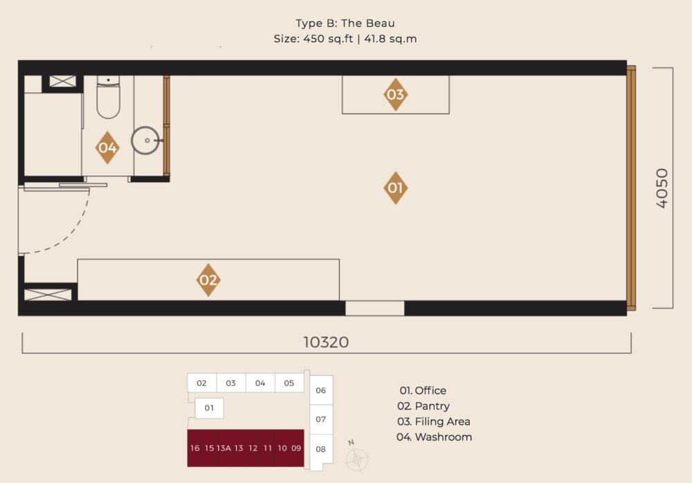 Scarletz Suites Type B: The Beau Floor Plan