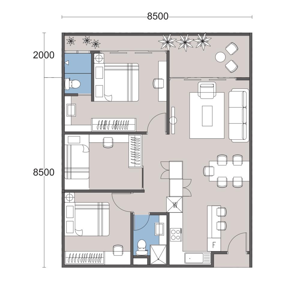 The Podium Type R2A Floor Plan