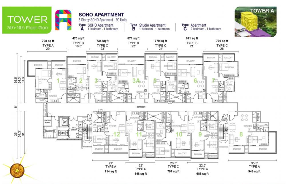 Tropics City Tower A (Floor 5-11) Floor Plan