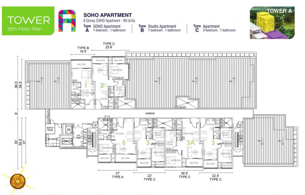 Tropics City Tower A (Floor 12) Floor Plan