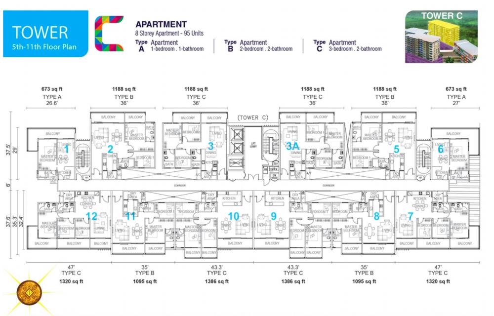 Tropics City Tower C (Floor 5-11) Floor Plan