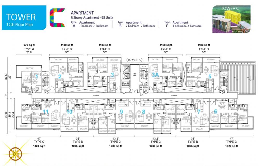 Tropics City Tower C (Floor 12) Floor Plan