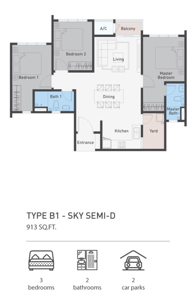 ARCA @ Klang ARCA Residence - Type B1 Floor Plan