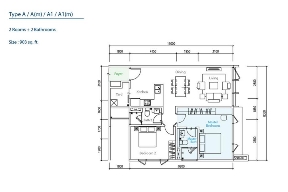 The Como Type A/A(m)/A1/A1(m) Floor Plan