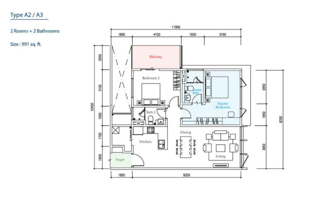 The Como Type A2/A3 Floor Plan